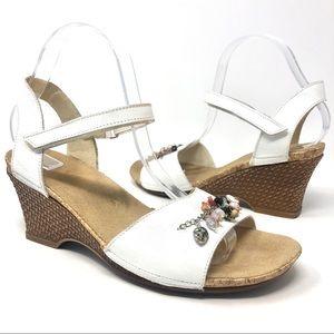 Rieker White Leather Seashell Wedge Sandals 40
